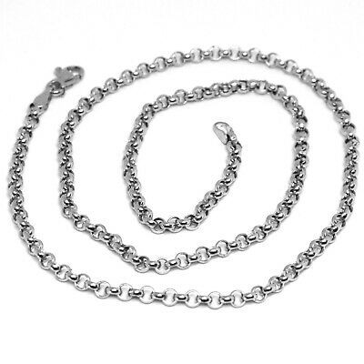 18K WHITE GOLD ROLO CHAIN 2.5 MM, 20 INCHES, NECKLACE, CIRCLES, MADE IN ITALY