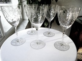 Set of 5 Vintage High Quality Cut Wine Glasses Stemware Unknown Maker - $49.50