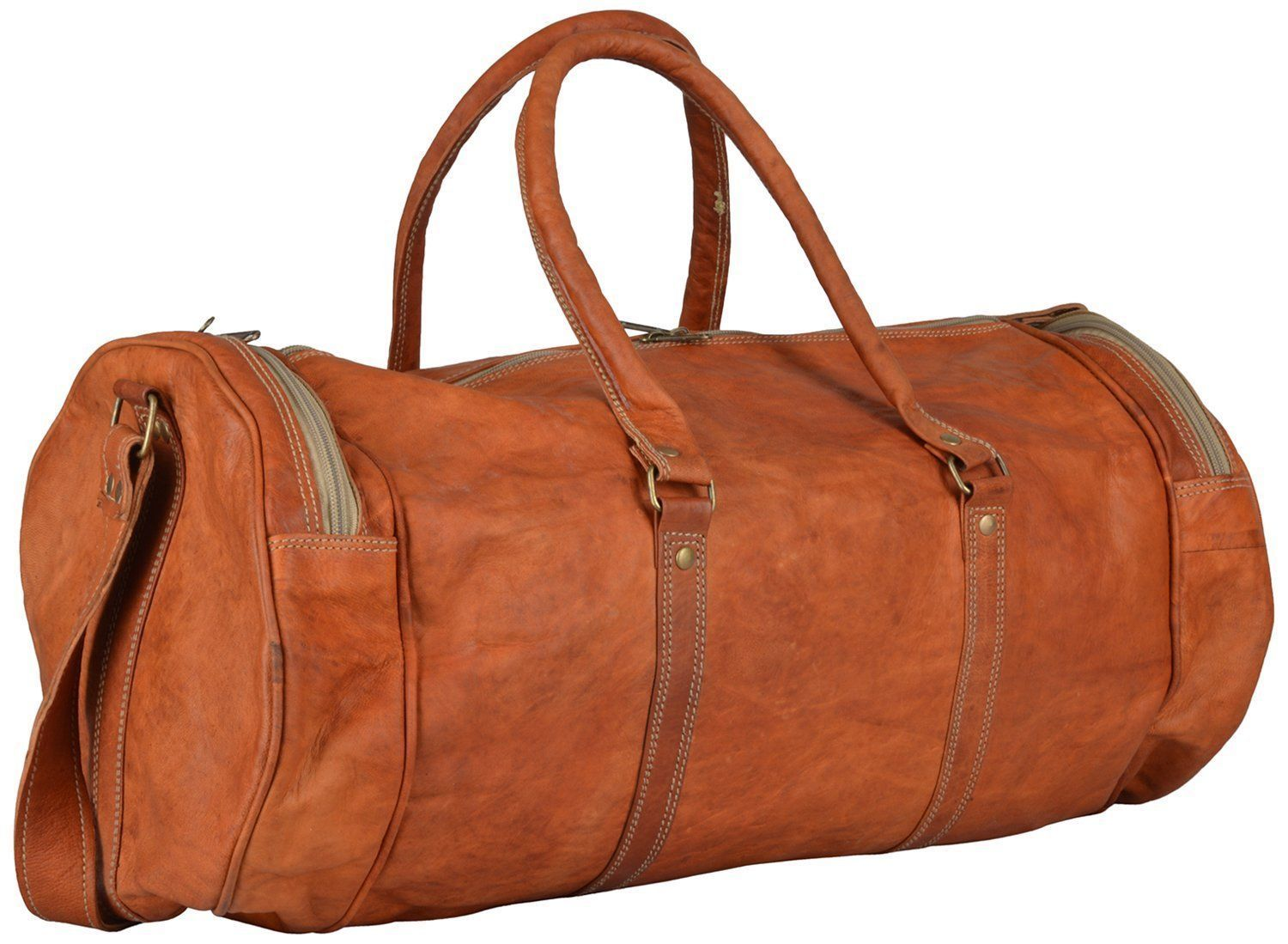 New Unisex Travel Brown Rustic Leather Casual Duffel / Gym Co lour Brown Bags