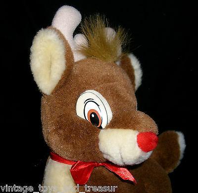 """12"""" Vintage Rudolph el Rojo Nariz Reno Applause Peluche Juguete de Felpa Marrón"""