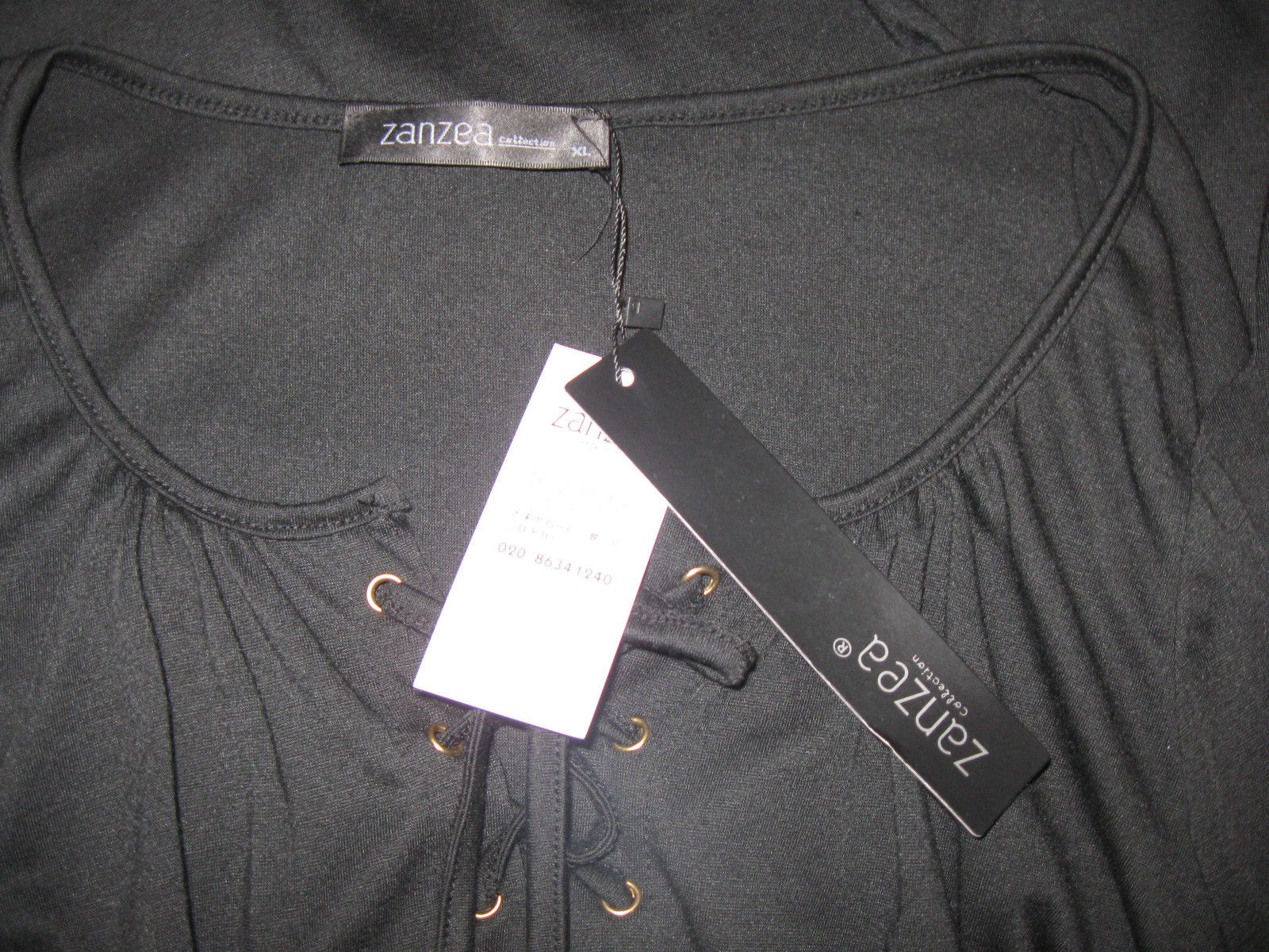 NWT Size M/L ZANZEA Top Shirt Black Scoop Neck Long Sleeve Lace Up Blouse
