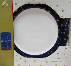 "Sakura Holiday 10 1/4"" Dinner Plates Set Of Four 14K Stars Navy Blue - $19.75"