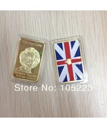 New 5pcs lot of gold plated margaret thatcher the iron lady coin bullion bar thumbtall