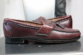 Maroon Color Apron Toe Genuine Leather Handmade Tassel Loafer Slip Ons M... - $139.90+