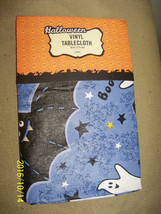 """halloween party vinyl tablecloth 70"""" round bats ghosts holiday table decor - $24.75"""