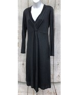 Boden (Sz 12L Tall) Double Layer Lyocell Charcoal Gray Blk Dress Empire ... - $35.88