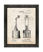 Wickless Oil Lamp Patent Print Old Look with Beveled Wood Frame - $24.95+