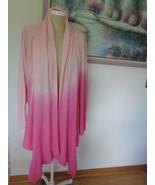 Denim 24/7 Womens Cardigan 1X Pink Ombre Tunic Top Sweater 92209 Draping - $29.99