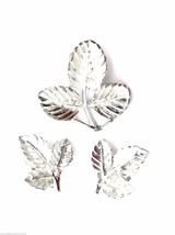Signed Sarah Coventry Petite Set Brooch Ears Silver 1967 Vintage Book Piece - $30.99