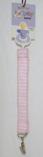 Ganz HE10043 Baby Girl Pink White Chevron Pacifier Clip