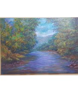 Original painting, scenery, light shining on the trees, clear water stream - $492.00