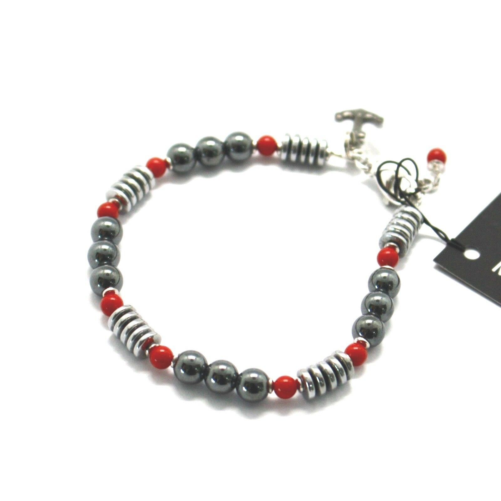 Silver Bracelet 925 With Coral And Hematite BLE-3 Made IN Italy By MASCHIA
