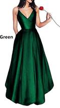 Womens Prom Dresses 2018 Long Spaghetti Straps Satin Evening Party Dress Pockets - $98.99