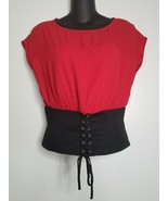 Monteau Anthropologie Womens Red Corset Tie SS Shirt Top Size Large NEW - $18.99