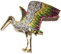 Bird Pin Brooch Clear Crystal Multicolor Gold Green Purple Enamel Goldto... - $24.99