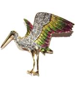 Bird Pin Brooch Clear Crystal Multicolor Gold Green Purple Enamel Goldto... - $24.99