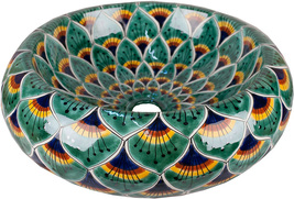 "Mexican Ceramic Bathroom Sink ""Green Peacock"" - $260.00"