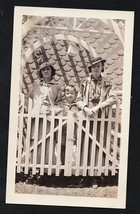 Vintage Antique Photograph Two Young Women & Little Boy Behind Gorgeous ... - $6.93