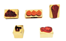 HALLOWEEN STAMPS! Set of 5 Halloween Wood Mounted Rubber Stamps image 2