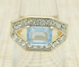 Blue Clear Glass Rhinestone Gold Tone Ring Size 6 Vintage - $24.74