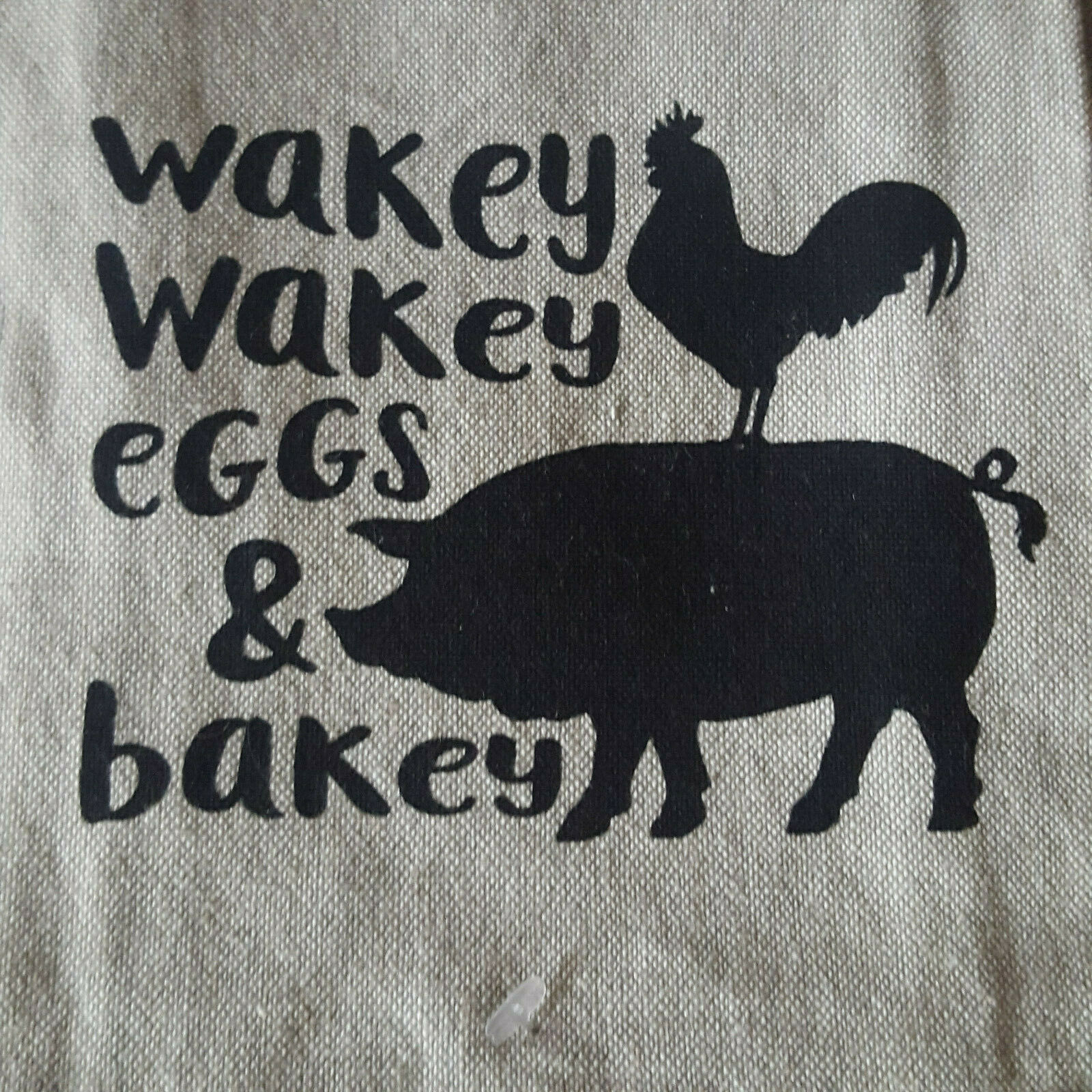 Primary image for  Kitchen Dish Towel Tea 16 x 28  Linen Cotton Country Pig Wakey Bakey Eggs Bakey