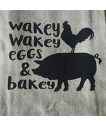 Kitchen Dish Towel Tea 16 x 28  Linen Cotton Country Pig Wakey Bakey Eg... - $8.79