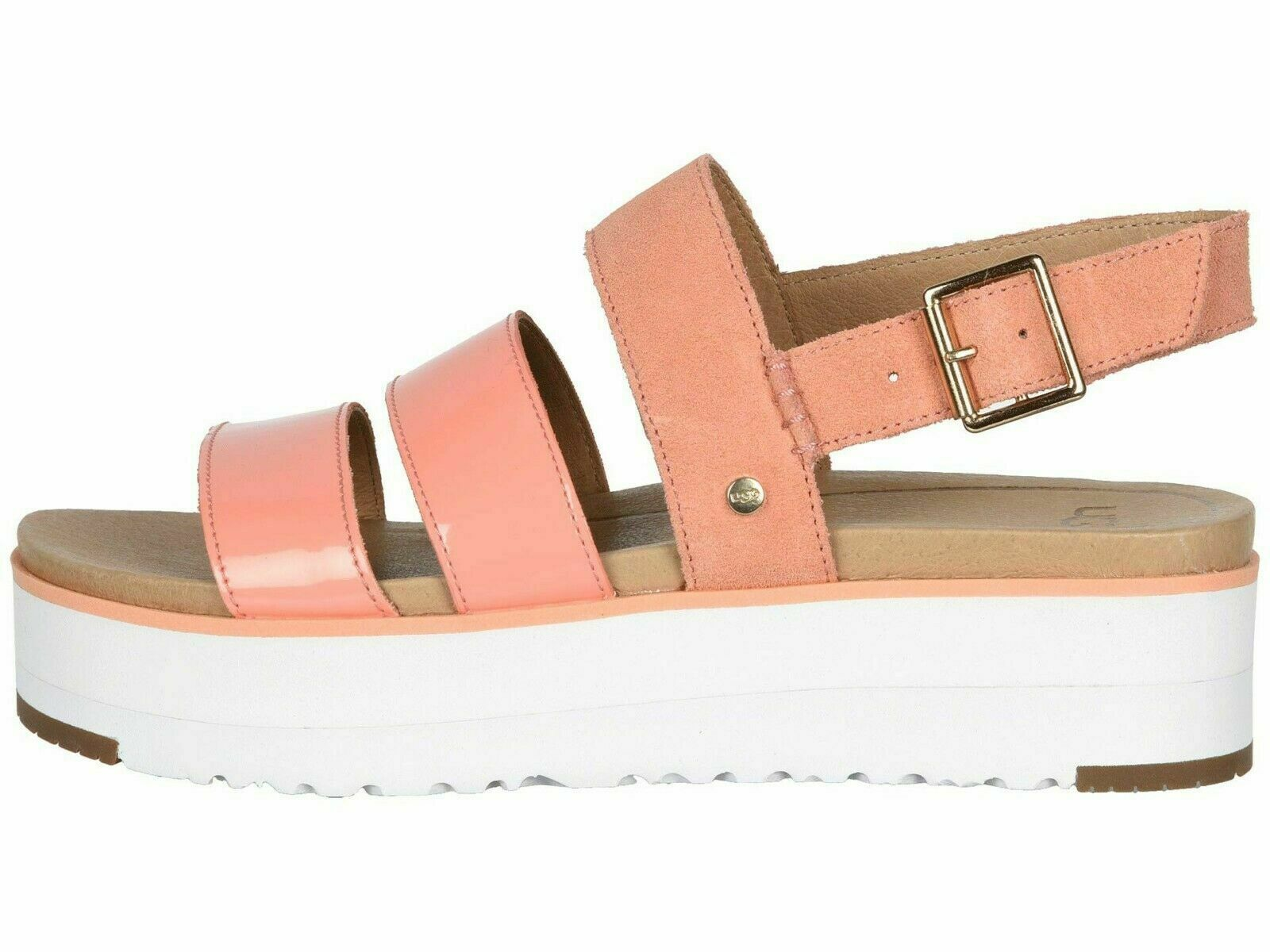 Primary image for UGG BRAELYNN Beverly Pink Women's Leather Platform Sandals 1099808