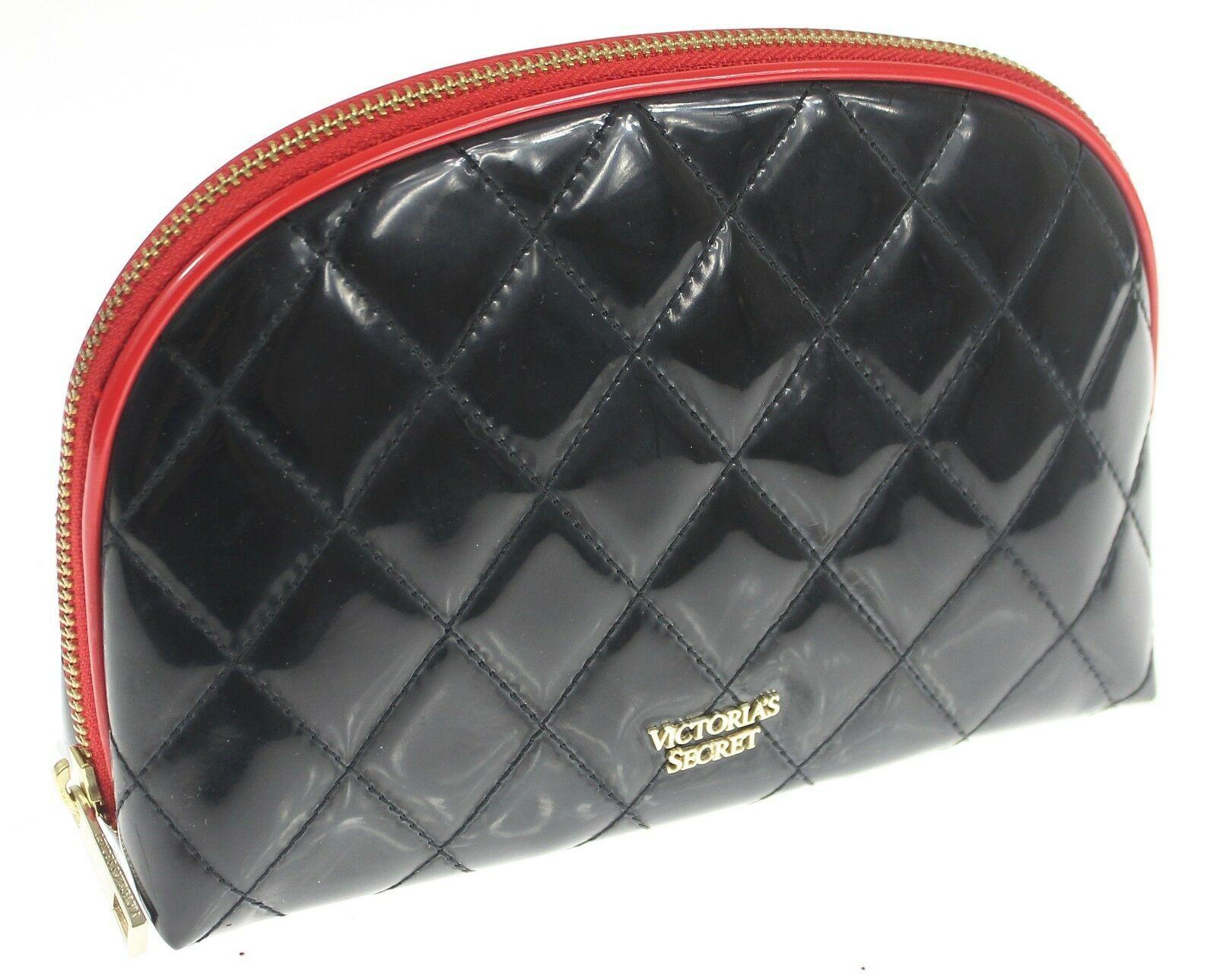 "Victorias Secret ~Cosmetic Bag~ quilted black/red trim clutch case 9""x 6""x 2.5"" - $28.96"