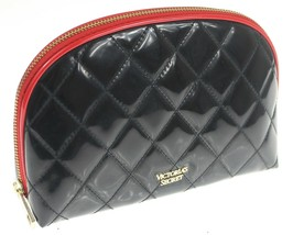 "Victorias Secret ~Cosmetic Bag~ quilted black/red trim clutch case 9""x 6... - $28.96"
