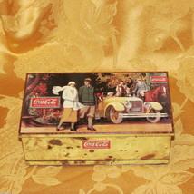 COCA-COLA Hinged Tin Box 1989 Vintage Automobile Classic Car People Coke Soda - $14.50