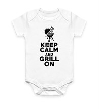 Keep Calm And Grill On Funny BBQ Grill Summer Body Suit Baby Grow Vest Gift - $10.46