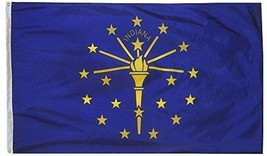 G128 Indiana State Flag 150D Quality Polyester 3x5 Ft Printed Brass Grom... - $25.38