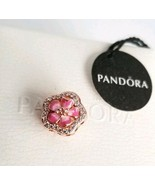 Pandora Sparkling Peach Blossom Flower Charm 788079CZ AUTHENTIC NWT WITH... - $29.46