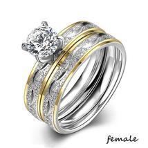 Couple Rings - Women Exquisite Rhinestones Zirconia Rings Set Simple Stainless S image 2