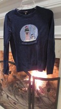 Talbot's Navy Snowman Christmas Sweater Sz XS Compare at $120 - $28.71