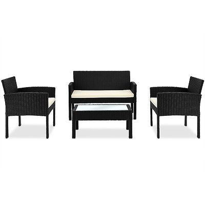 Black Rattan Garden Furniture Set Outdoor Sofa Two Armchairs Coffee Table 4pcs image 6
