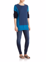 Vince Colorblock Intarsia Crewneck Sweater Wool Cashmere Blue Teal Bay  ... - $2.398,60 MXN