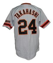 Yoshinobu Takahashi #24 Giants Tokyo Button Down Baseball Jersey Grey Any Size image 2
