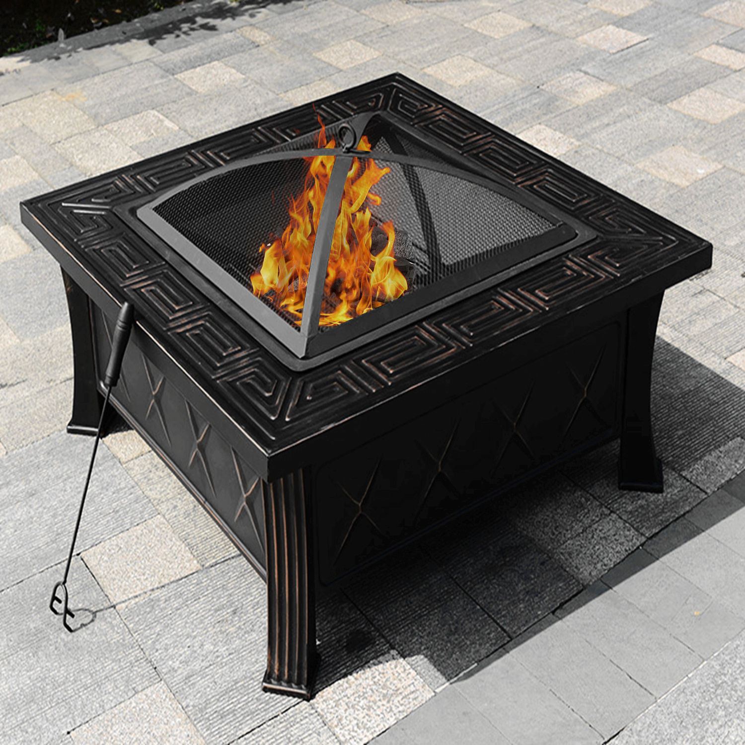 "32"" Square Fire Pit Fire Bowl Outdoor BBQ Burning Grill Patio Poker Grate Cover"