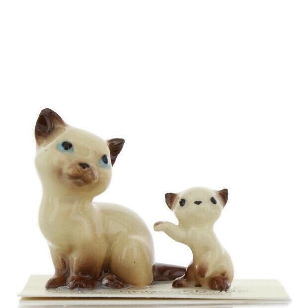 Hagen Renaker Miniature Cat Siamese Mama and Kitten Boxing Ceramic Figurines