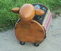 Vintage Creative Playthings solid wood Sheep Lamb rideon Toy w/southwest... - $149.99