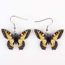 (ae425dark)Bonsny Drop Butterfly Earrings Acrylic Art Big Long Danlge Ea... - $10.00