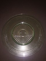 Green Depression Glass Roulette  11-1-2 Inch Dinner Plate - $9.65