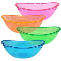 Party Dimensions Plastic Oval Contoured Bowl - Bundle of 4 Assorted Neon... - $328,82 MXN