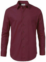 Men's Solid Long Sleeve Formal Button Up Standard Barrel Cuff Dress Shirt image 5