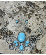 Antique Blue Turquoise Butterfly Pendant Jewelry Necklace Earring Set Ad... - $19.77
