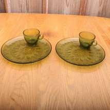 2 Indiana Glass Green Sunburst Snack Set Cups and Plates Vintage - $21.49