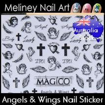 Angel Wings Cupid Cross hearts Feather Nail Art Stickers decoration - $5.36