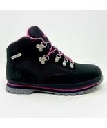 Timberland Euro Hiker Outdoor Boots Black Pink Junior Size 6.5 Nubuck 3197R - $74.95