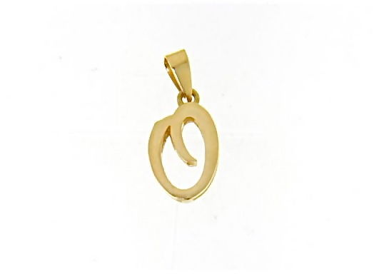 18K YELLOW GOLD LUSTER PENDANT WITH INITIAL O LETTER O MADE IN ITALY 0.71 INCHES